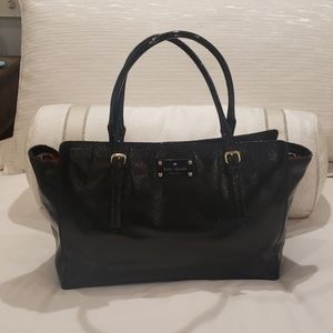 Kate Spade Black Patent Leather Pebbled Tote